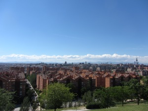 """Vista de Vallecas desde el parque de las """"Siete Tetas""""."""